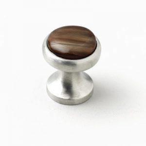 Mood 053 Satin Pewter Brown Horn Cabinet Knob