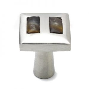 Mood 078 Satin Pewter Brown Horn Cabinet Knob
