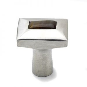 Mood 080 Satin Pewter Brown Horn Cabinet Knob