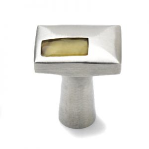 Mood 081 Satin Pewter Brown Horn Cabinet Knob