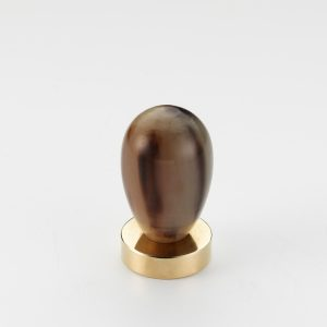 Mood 165 Polished Brass Brown Cattle Horn Cabinet Knob