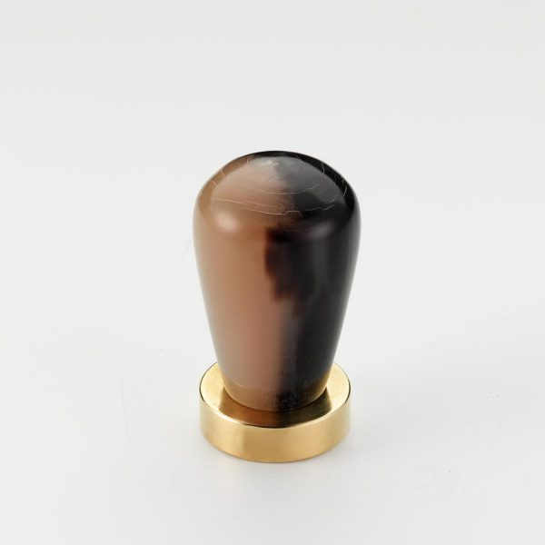 Mood 167 Polished Brass Brown Cattle Horn Cabinet Knob