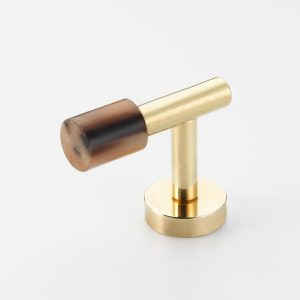Mood 194 Polished Brass Brown Cattle Horn Cabinet Handle