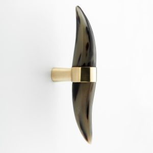 WH217 Mood Brass Brown Cattle Horn Tip Wal Hook