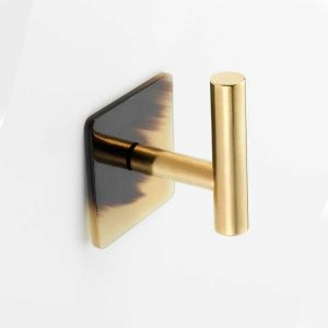 WH157 Mood Brass Brown Cattle Horn Wall Hook