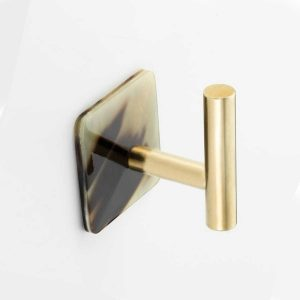 WH158 Mood Brass Brown Cattle Horn Wall Hook