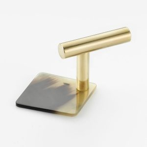 Mood 151 Polished Brass Brown Cattle Horn Cabinet Handle